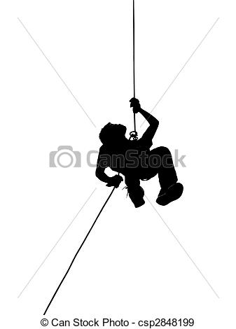 Stock Photographs of Silhouette of Person Abseiling.