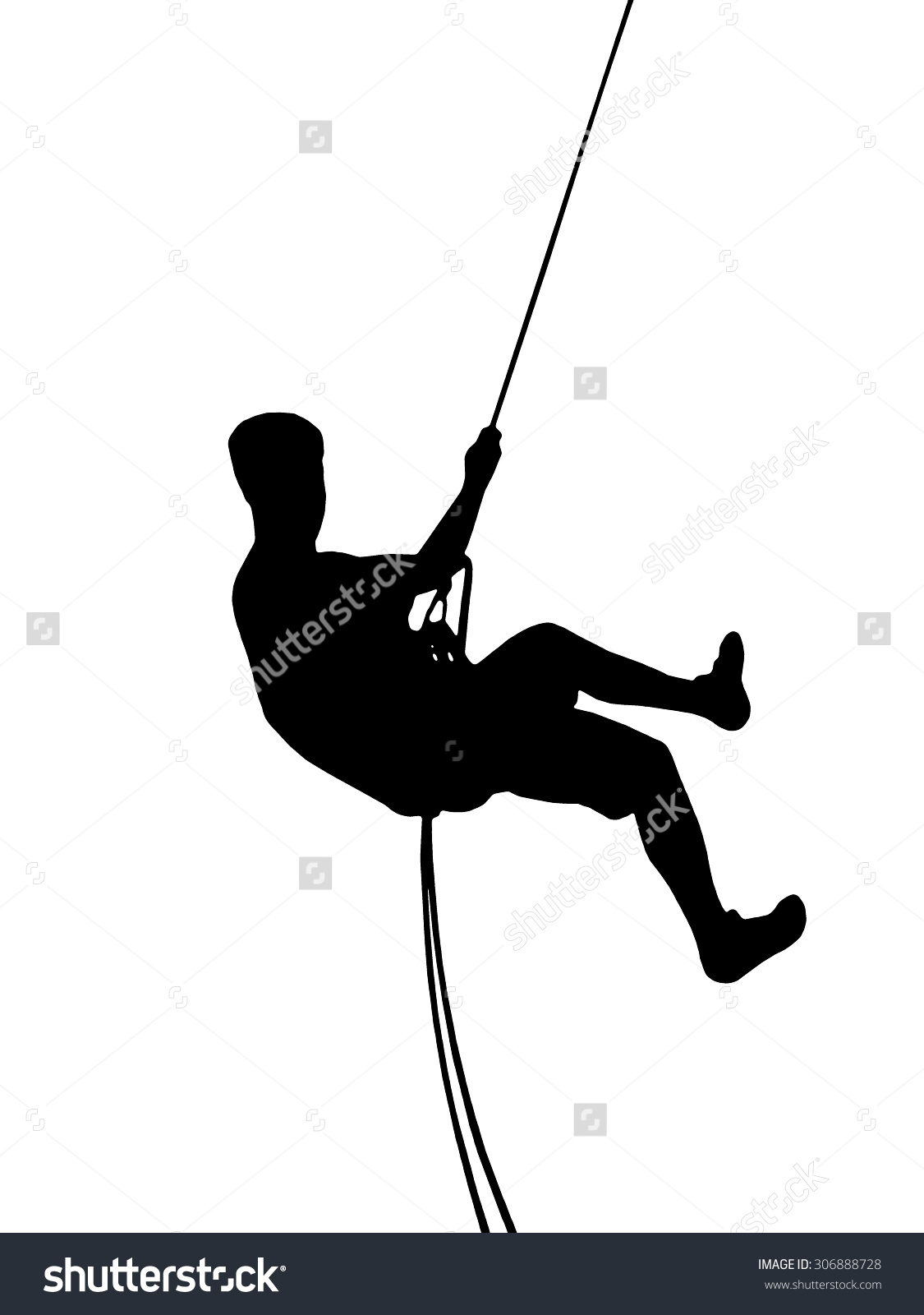 Climber Silhouette Illustration Young Man Abseiling Stock.