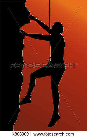 Clipart of Sunset Back Abseiling Man k8089091.