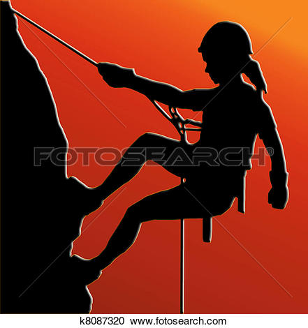 Clipart of Abseiling Lady k7572740.