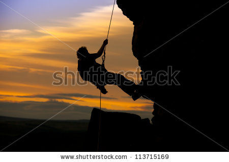Silhouette Man Climbing On Cliff Graphic Stock Vector 351962003.