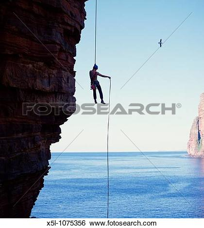 Stock Images of ABSEILING SPORT Abseiler descending Old Man of Hoy.