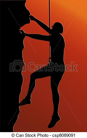 Clipart of Sunset Back Abseiling Man.