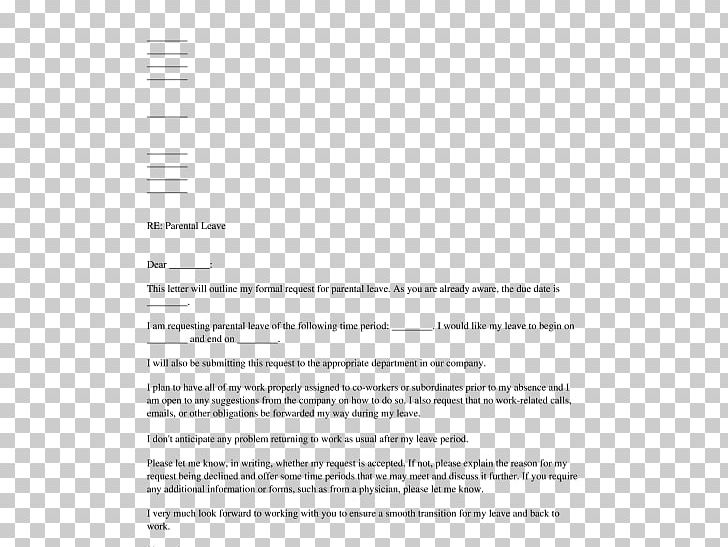 Document Parental Leave Leave Of Absence Letter PNG, Clipart.
