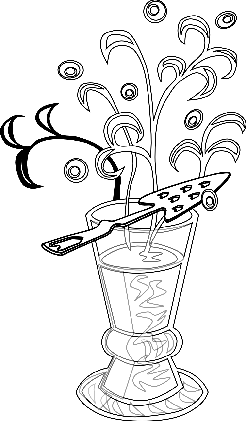 clipartist.net » Clip Art » absinthe drink black white line art SVG.