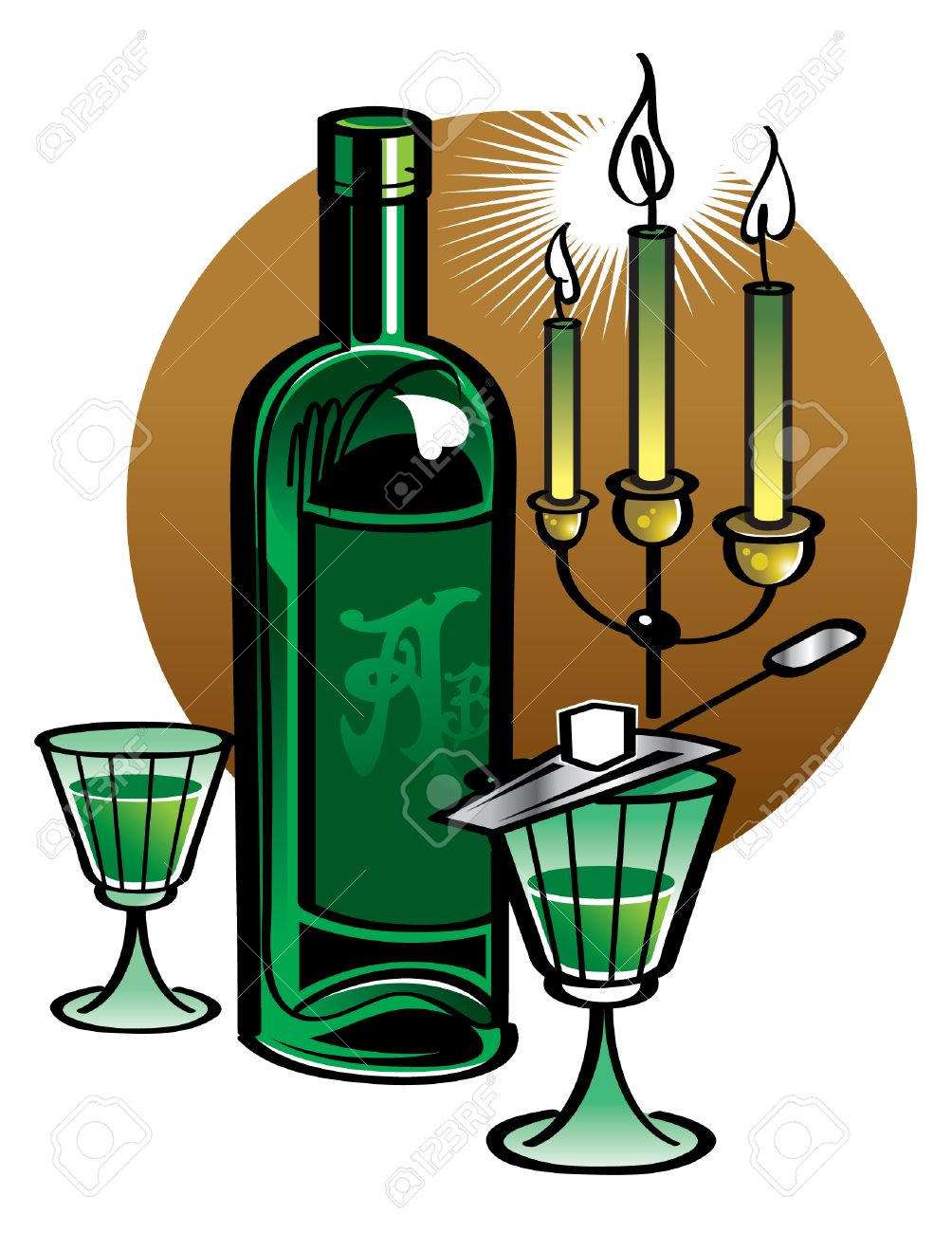 Bottle Of Absinthe With Candles Royalty Free Cliparts, Vectors.