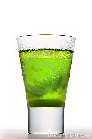 Absinthe Drink With Ice Stock Images.