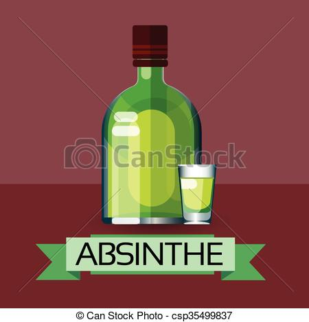 Vectors of Absinthe Bottle Alcohol Drink Icon Flat Illustration.