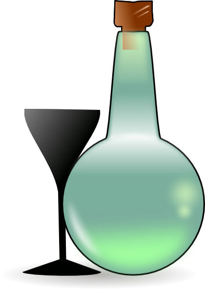 Bottle Of Absinthe And Cup clip art Free Vector / 4Vector.