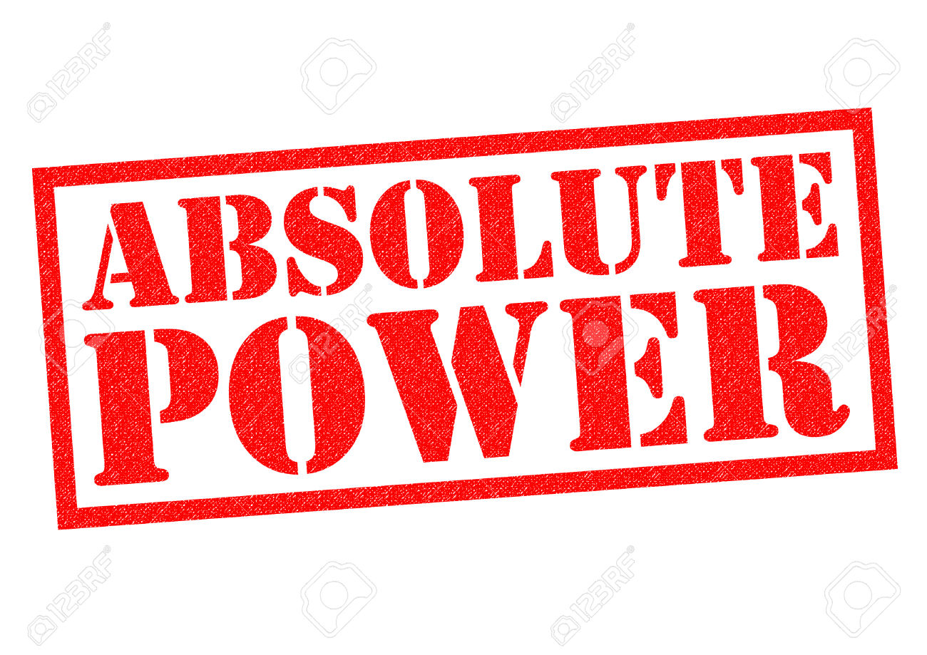ABSOLUTE POWER Red Rubber Stamp Over A White Background. Stock.