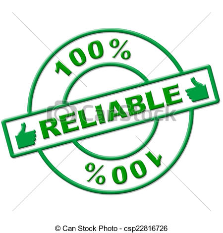 Clip Art of Hundred Percent Reliable Means Absolute Depend And.