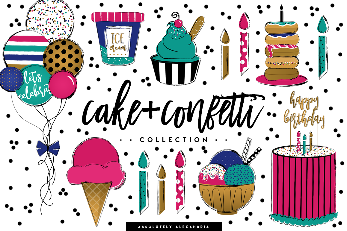Cake + Confetti Clipart Illustrations & Seamless Digital Paper Patterns  Bundle.