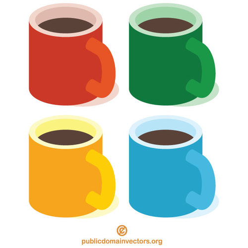 Coffee cups in various colors.