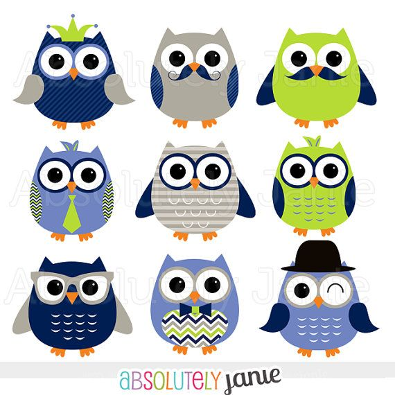 Boy Owls Navy Lime Digital Clipart Clip Art by.