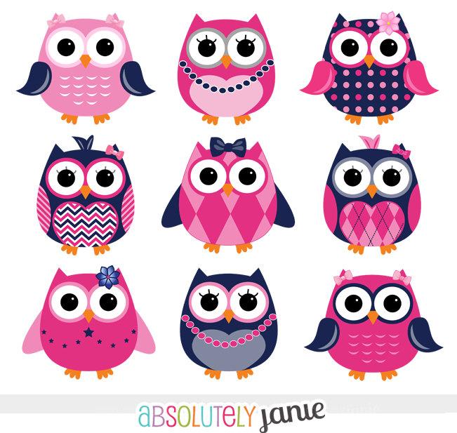 Girly Navy Pink Owls Digital Preppy By Absolutelyjanie free.