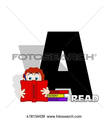 Stock Illustration of Alphabet Absorbed in Reading A k18134439.