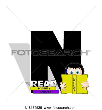Stock Illustration of Alphabet Absorbed in Reading N k18134535.