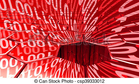 Clipart of Big data digital red sinkhole absorbing data.