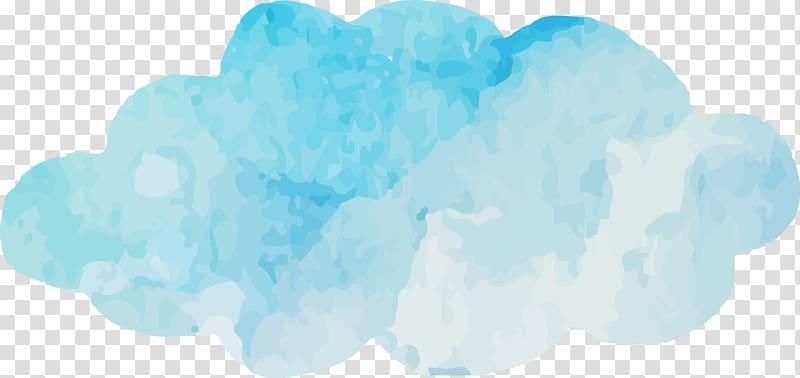 Blue Sky Cloud Turquoise Font, Watercolor blue clouds , blue.