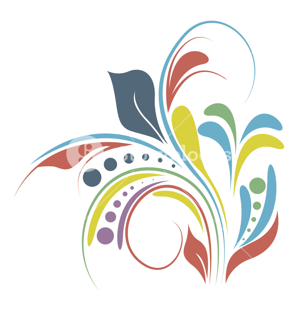 Abstract Colored Flourish Elements Design Royalty.