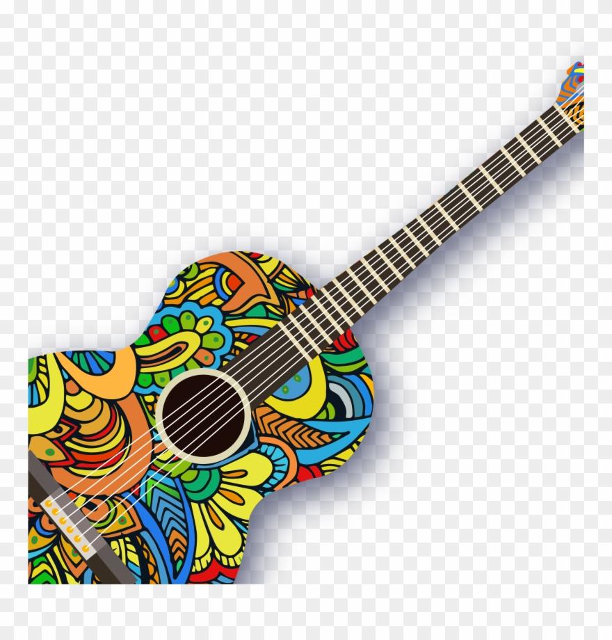 Ukulele Pattern Creative Guitar Vector Acoustic.