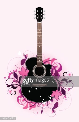 Abstract with acoustic guitar Clipart Image.