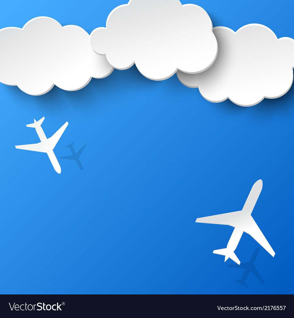 Abstract background with two airplanes and clouds.