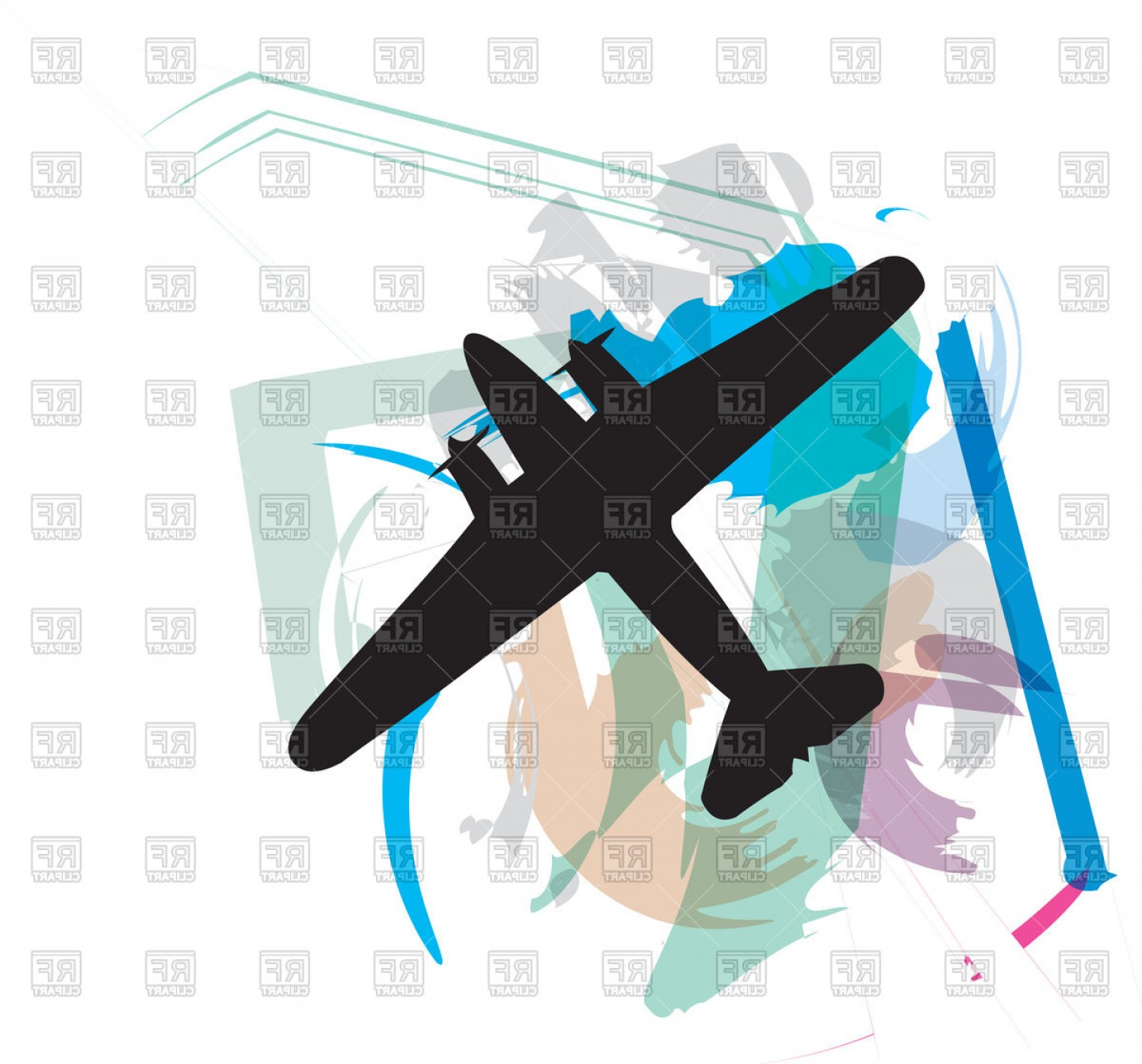 Airplane Silhouette Aircraft Or Plane On Abstract Background.