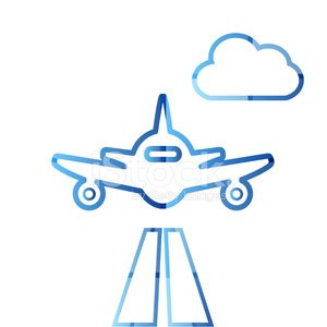 Abstract colorful minimalistic air plane logo Clipart Image.