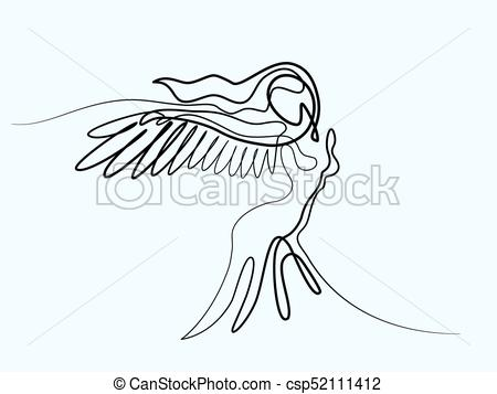 Abstract portrait of angel woman with wings.