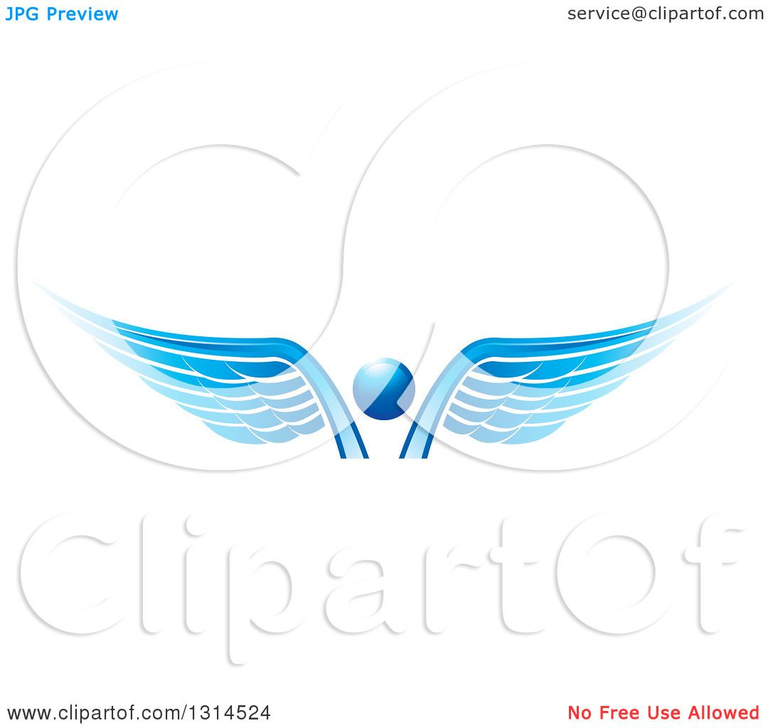Clipart of a Blue Abstract Angel.