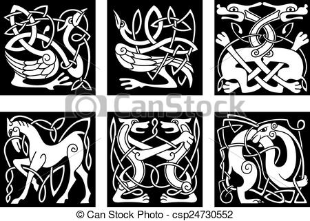 Clipart Vector of Celtic ornaments with animals.