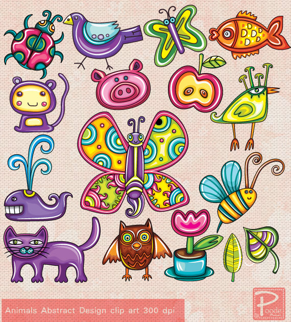 Animals Abstract Paper Goods Use Clip Art by PoodeDesigns on Etsy.