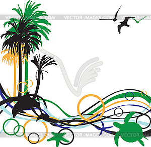 background with palm trees.