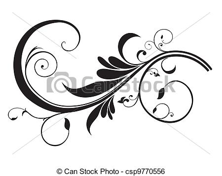 Clip Art Vector of abstract artistic floral template vector.