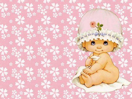 Cute baby on pink.