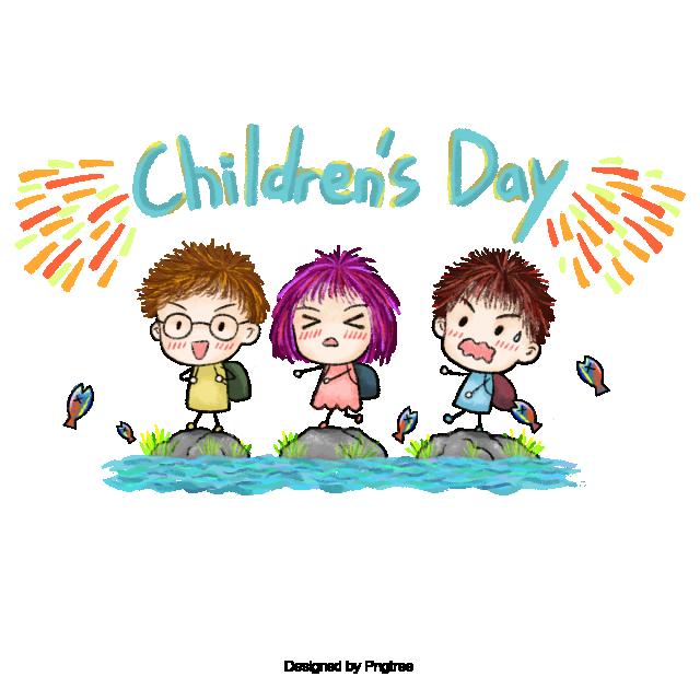 Hand Painted Design Childrens Day, Happy Children\'s Day.