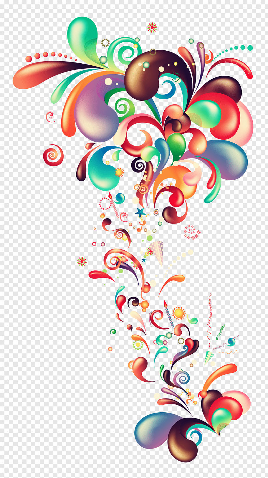 Red, green, and orange confetti illustration, Euclidean.