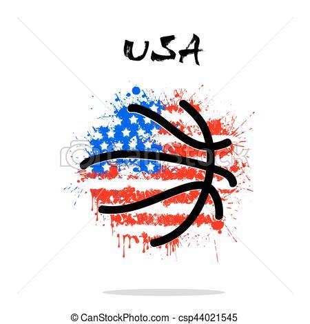 Flag of USA as an abstract basketball ball.