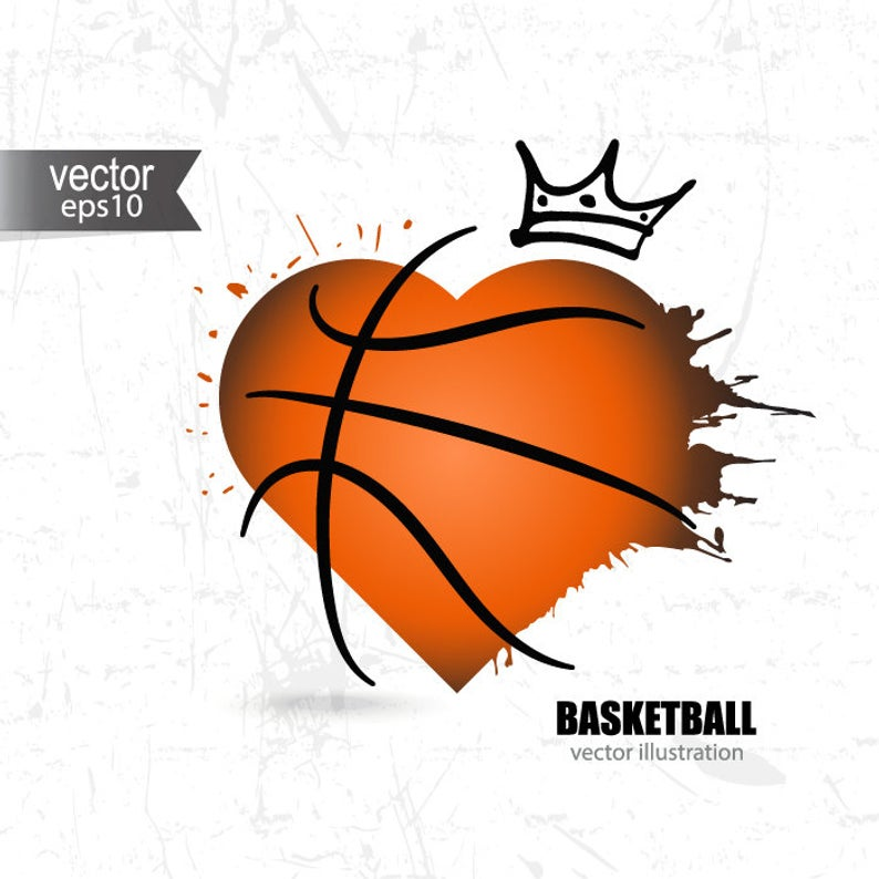 Basketball heart SVG, hand drawing, Grunge abstract ball clipart, T.
