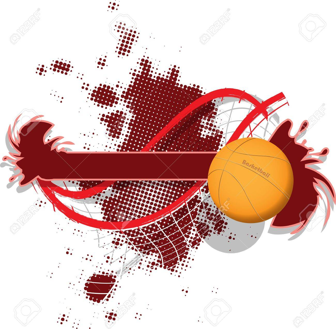 illustration of abstract sport background with a basketball.