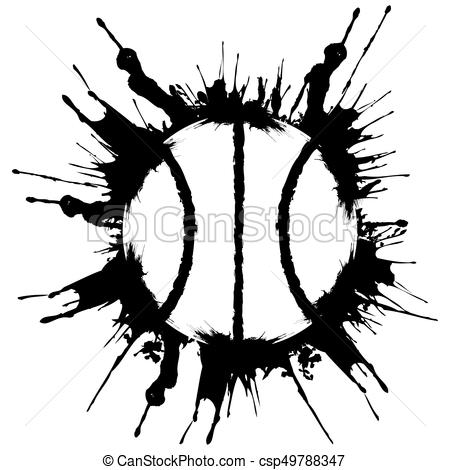 Grunge style basketball. .Abstract vector illustration.