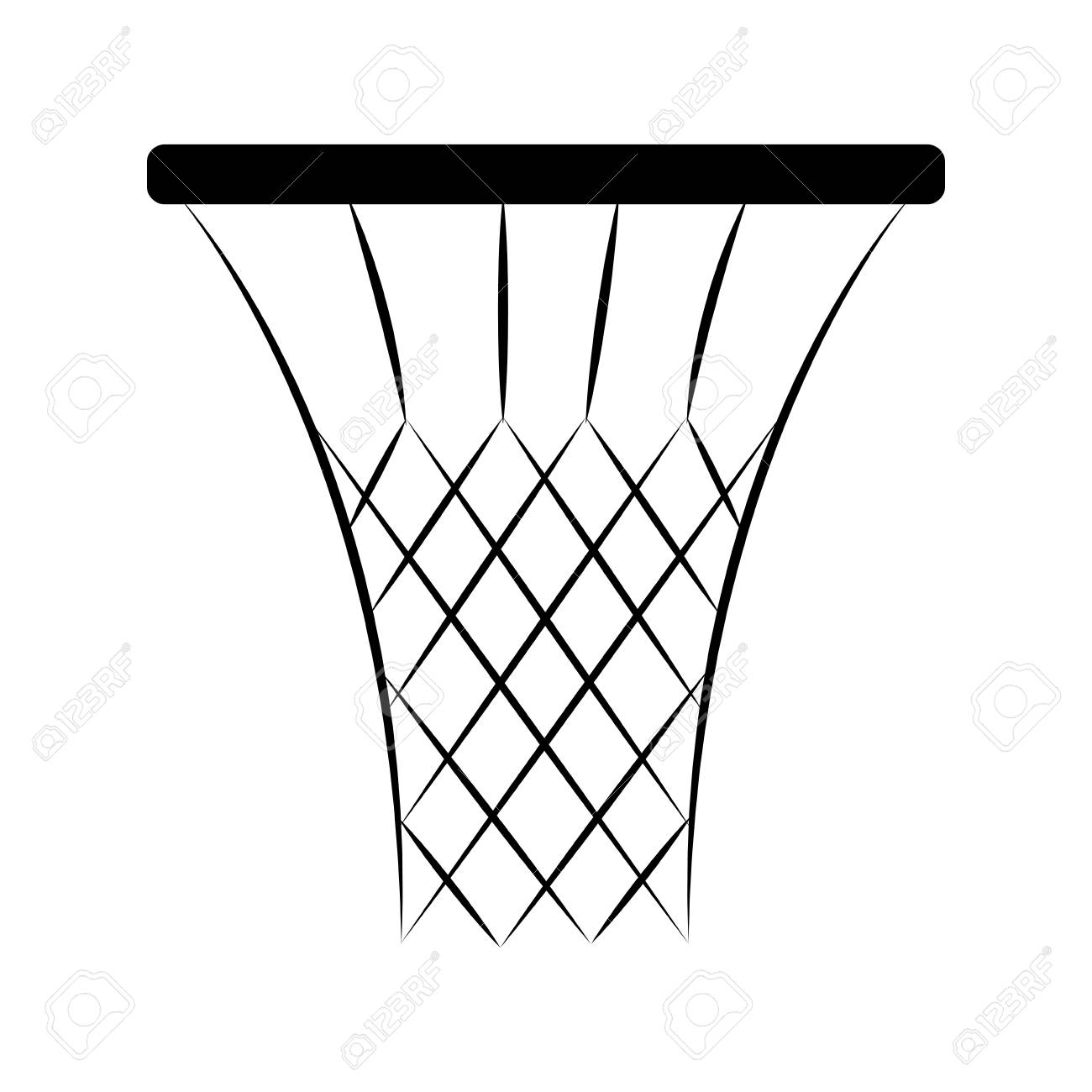Abstract Basketball net in black and white illustration..