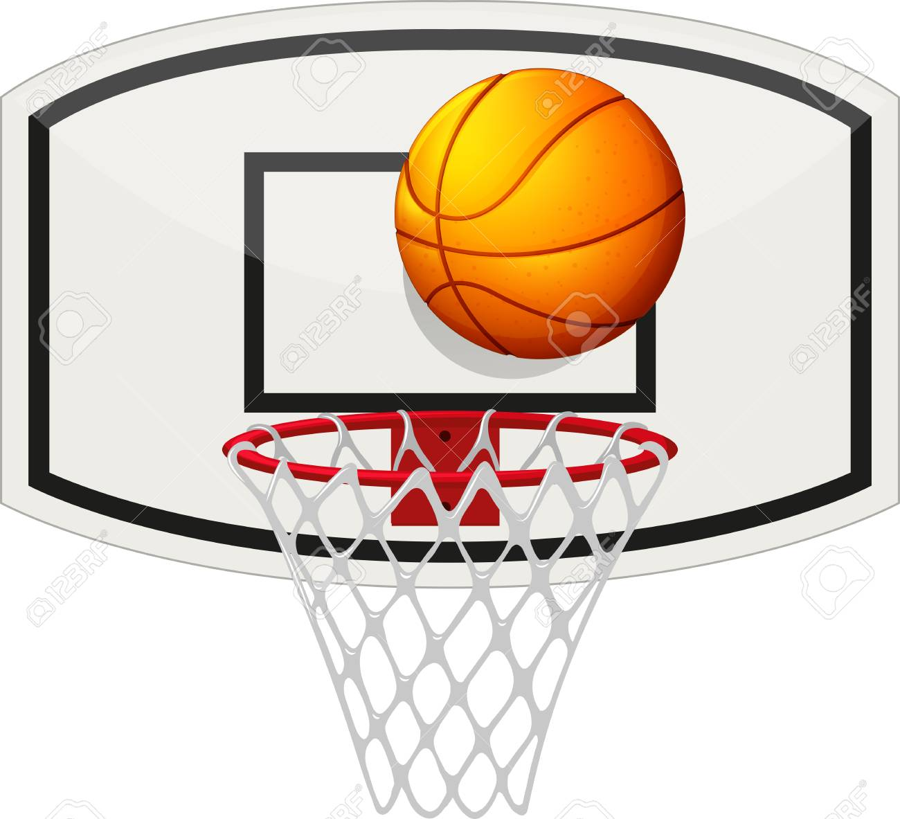 Basketball Net And Ball Clipart.
