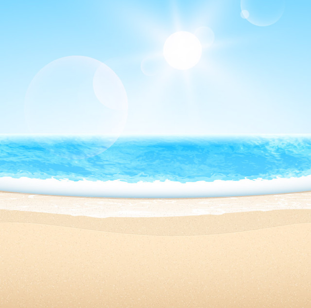 Free Vectors: Abstract Summer Sea Beach with Blue Sky.