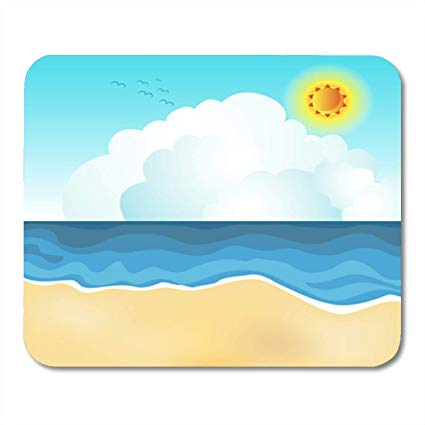 Amazon.com : Semtomn Gaming Mouse Pad Blue Clipart of Beach.