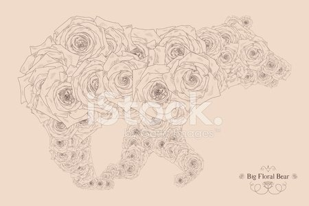 Vector illustration with abstract bear Clipart Image.
