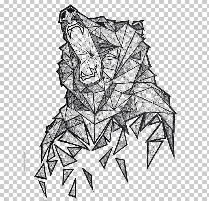 Polar Bear Geometry Drawing Illustration PNG, Clipart.