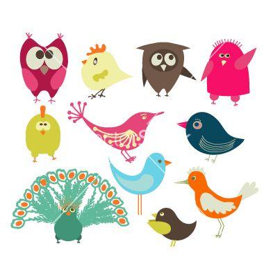 Set of abstract birds vector.