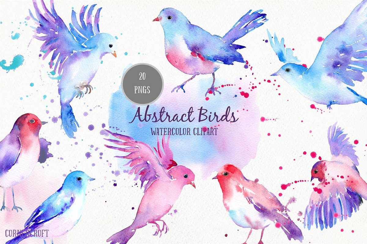 Bird Clip Art, Abstract watercolor birds and watercolor texture for instant  download, pastel color, flying bird.